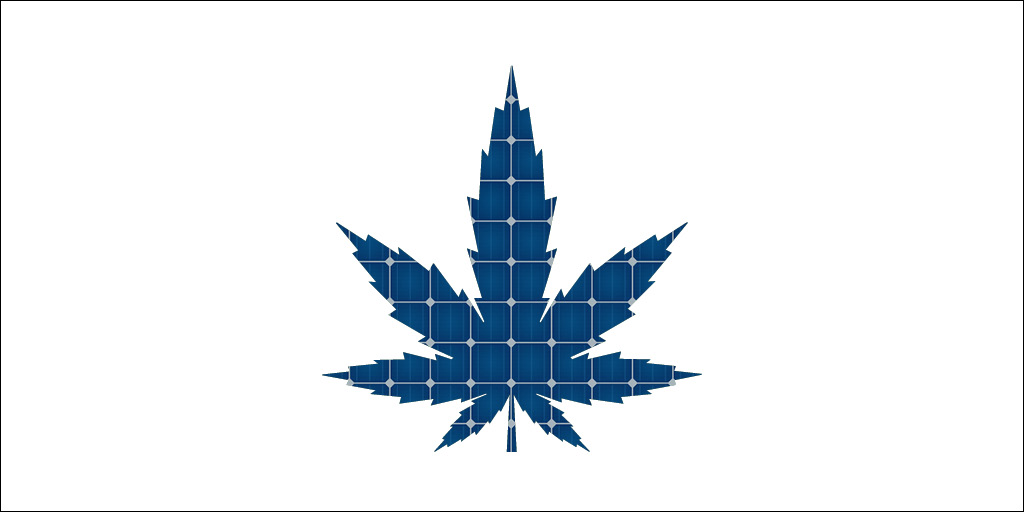marijuana leaf with solar panel
