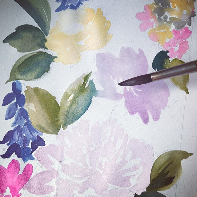 Starting on a commission....laying out the first layers for the painting #commission #watercolorflower #wearethemadahers #dsfloral #paint #artist #art #flowers #floral