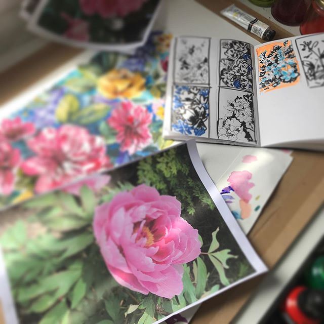 I have finished my commission and have enjoyed the process from taking photos @rhsharlowcarr to sketchbook to finally painting the floral piece...time to clean up the desk and start on fresh new work...how is your desk looking this morning ? #designer #floral #lovemycraft #artist #dsfloral #printdesigner #art #watercolour #desk #studio #wearethemadahers #process