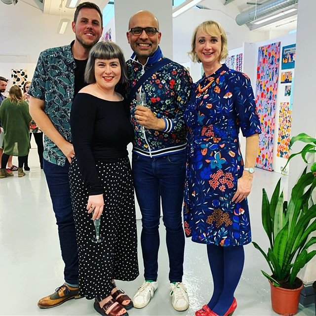 So tonight we celebrated the final degree show @lauprintsurfacedesign @leedsartsuni ... and I've had the pleasure having working with these talented bunch @lauraslaterprint joules from @thepatternsocial and Gareth who bring a wealth of knowledge to the students. So here's a toast to you all and the rest of the amazing staff who work so hard & of course to YOU Graduates as you now start YOUR Journey... we wish you all the SUCCESS!! #leeds #lecturers #teachers #hardwork #encouragement #graduate #thefuture #artist #designers #nextgeneration