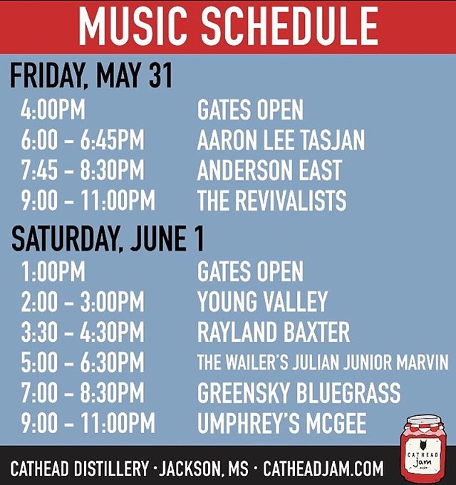 Here's the schedule for @cathead_jam. We'll be starting things off on Saturday at 2. Lots of killer acts, so come enjoy this kickass festival! We're happy to be involved. Come party 🙌🥳