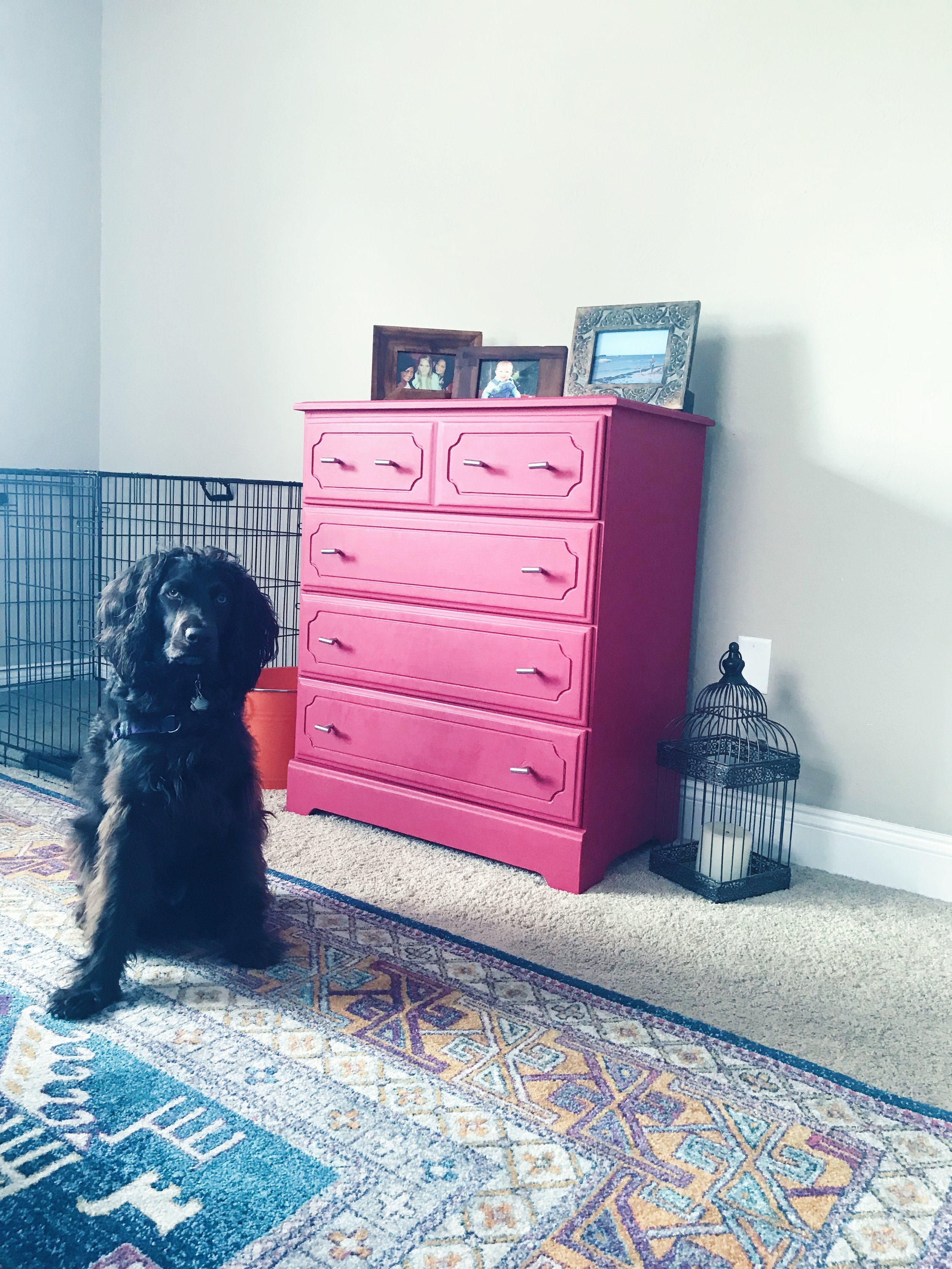 ...and painted the dresser in the same room berry pink :)
