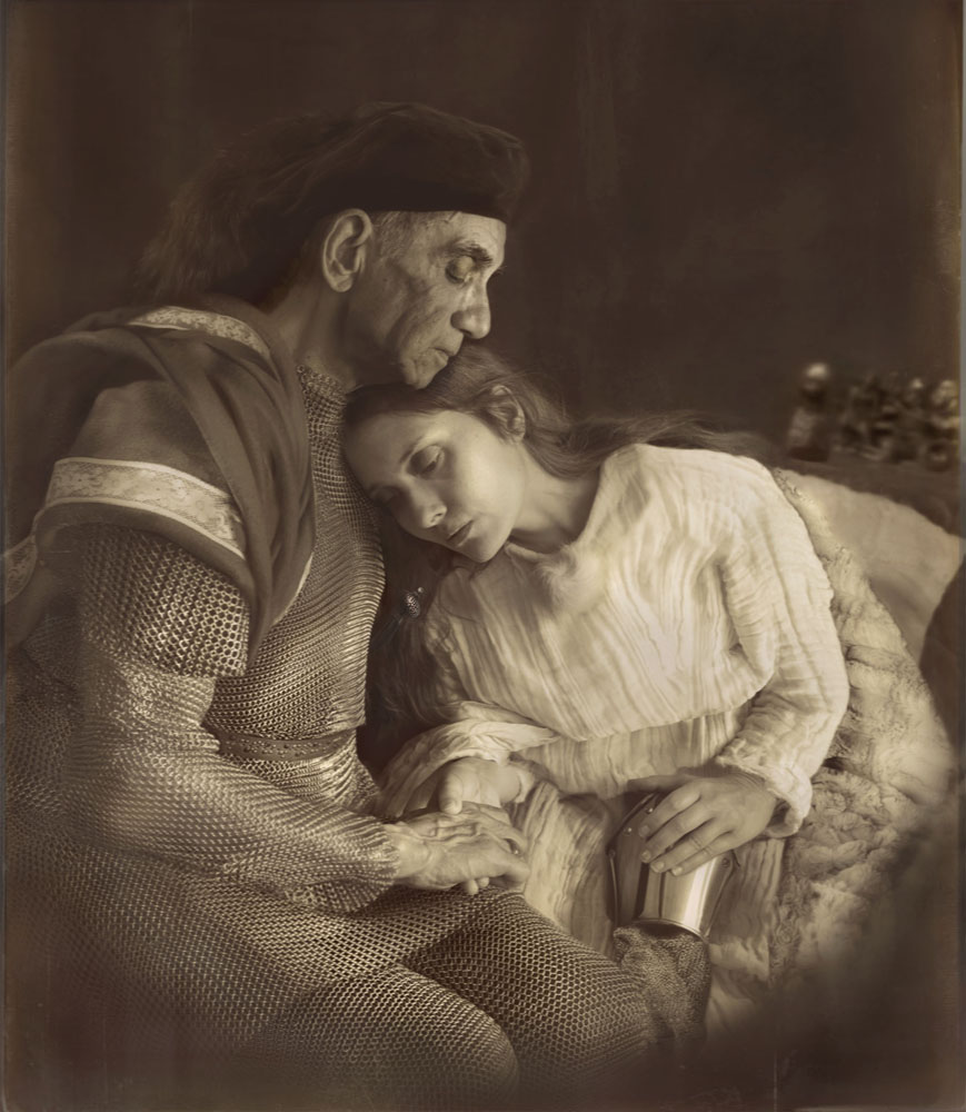 Copy of « LOOKING FOR THE MASTERS IN RICARDO'S GOLDEN SHOES #4 (TRIBUTE TO JULIA MARGARET CAMERON, THE PARTING OF SIR LANCELOT AND QUEEN GUINEVERE, 1874) » BY CATHERINE BALET