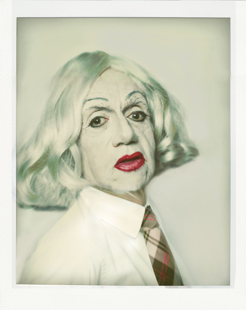 Copy of « LOOKING FOR THE MASTERS IN RICARDO'S GOLDEN SHOES #70 (TRIBUTE TO ANDY WARHOL, SELF PORTRAIT IN DRAG, POLAROID, 1981) » BY CATHERINE BALET