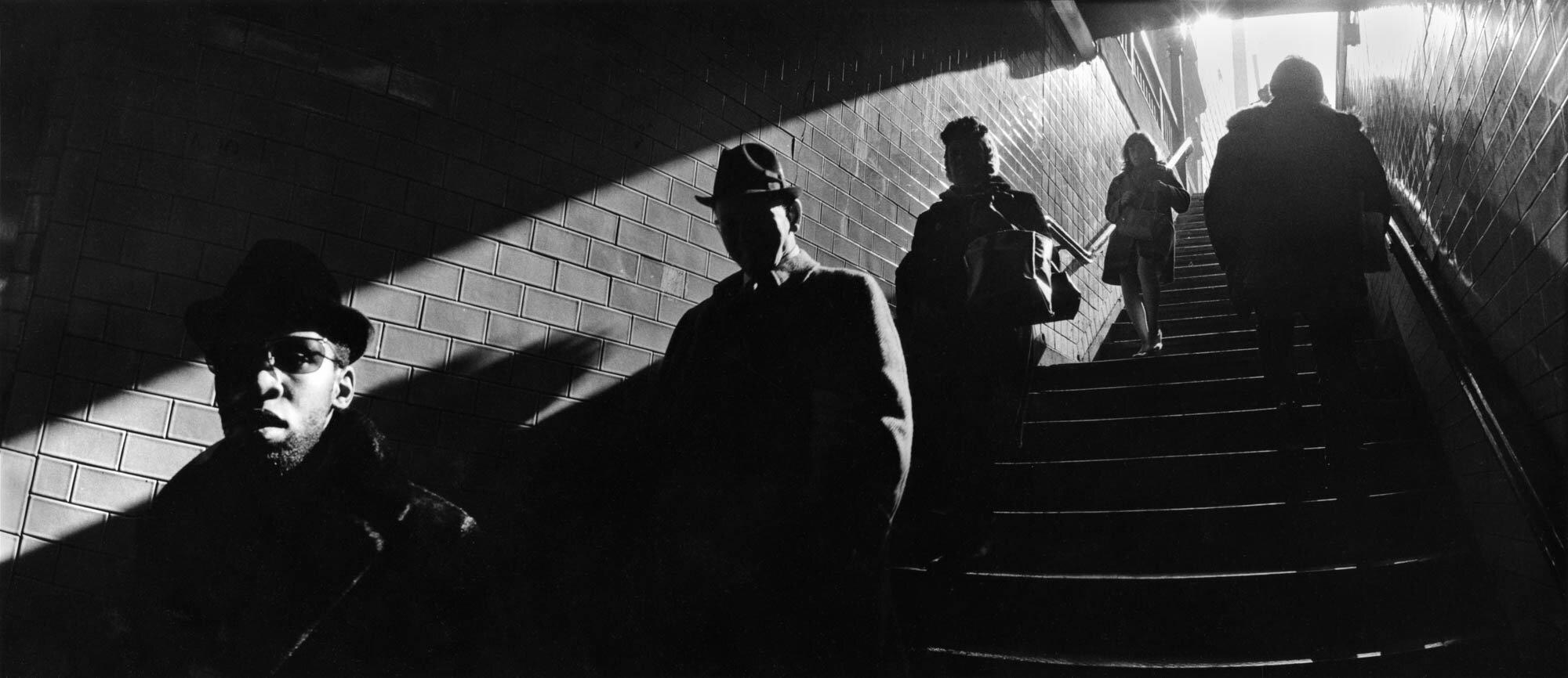Harold Feinstein - Ascending Subway Stairs (New York, NY), 1970
