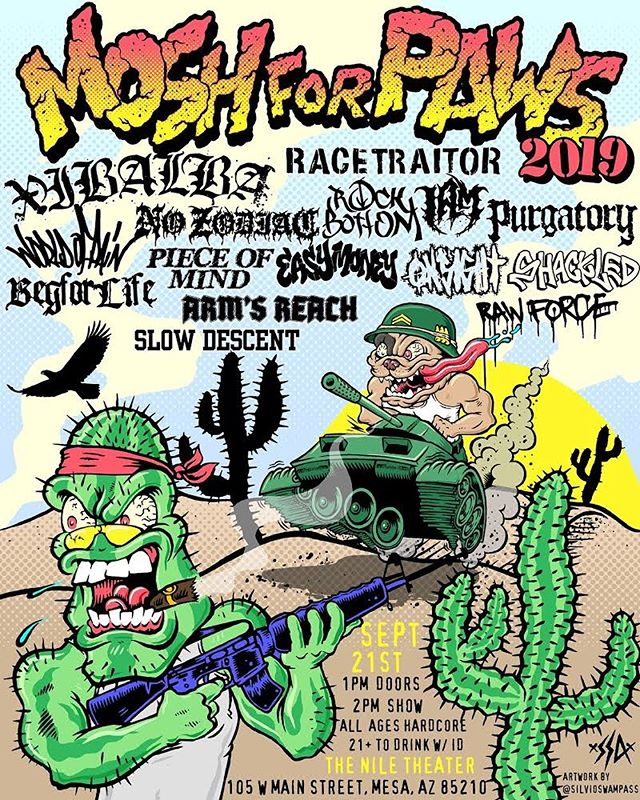 Mosh 4 Paws & Hard 2 Kill. Head over to @moshforpaws and purchase a ticket. See ya soon AZ.