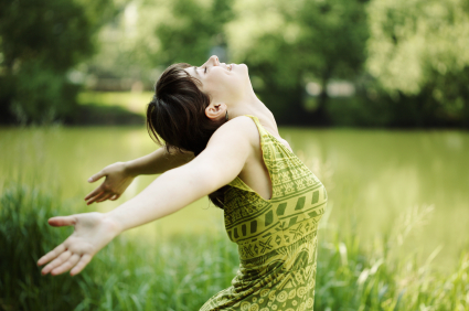 woman feeling refreshed