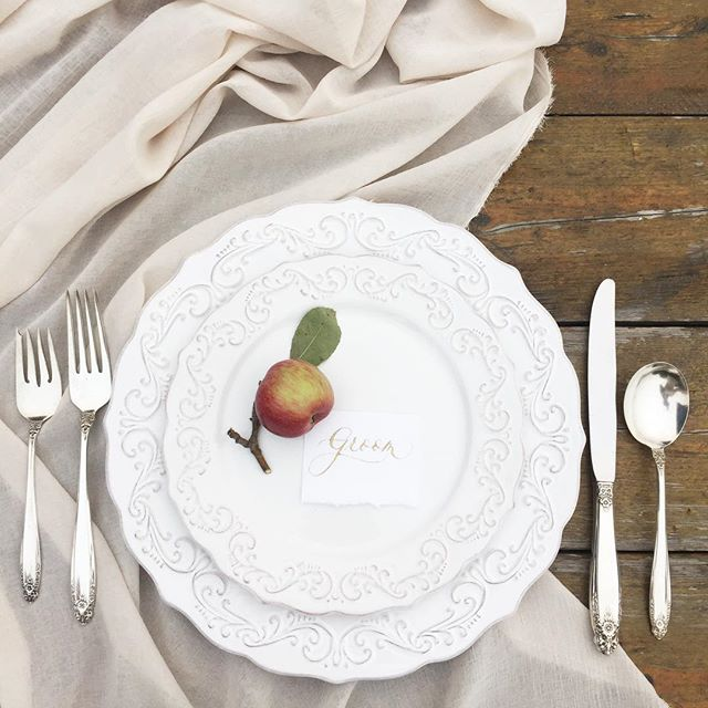 Natural and antique details from our shoot in the apple orchard. Featuring calligraphy & design from @aylapena and polished silver from my grandmother's collection.