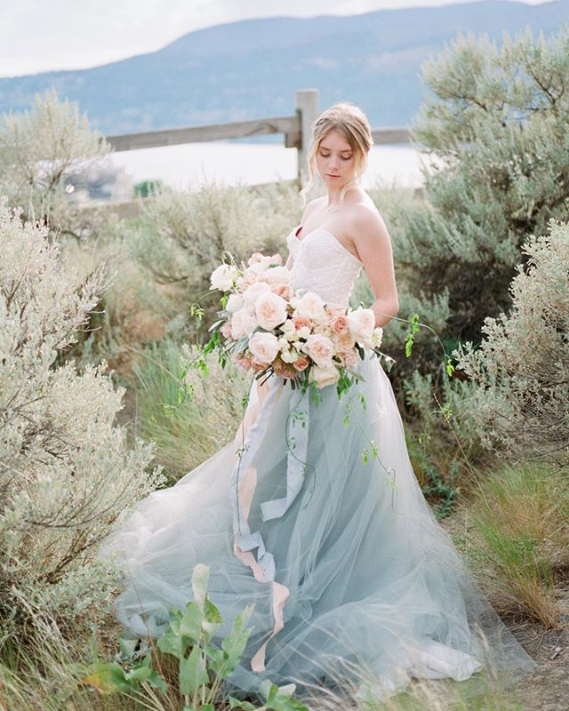 First release from the Summer Blues series featured on @rockymtnbride TODAY💙✨ Sun soaked garden roses gathered & tied with cascading passion vine and silk ribbons fold in and around that divine cerulean tulle skirt. I love pulling inspiration & designing around the dress, cause that is what it's all about! . . #fraservalleyflorist #sharechilliwack #viawesome #vancouver #kelownanow #stylemepretty #weddingideas #yvrwedding #fraservalleyweddings #junebugweddings #theknot #vancitynow #pnw #pnwbc #pnwcollective #igersvancouver #pnwedding #thefraservalley #ruffledblog #weddingforward #dailyhivevan #kelownanow #weddingchicks #blushmagazine #weddingforward #vancityweddings #kelownawedding #okanaganweddings