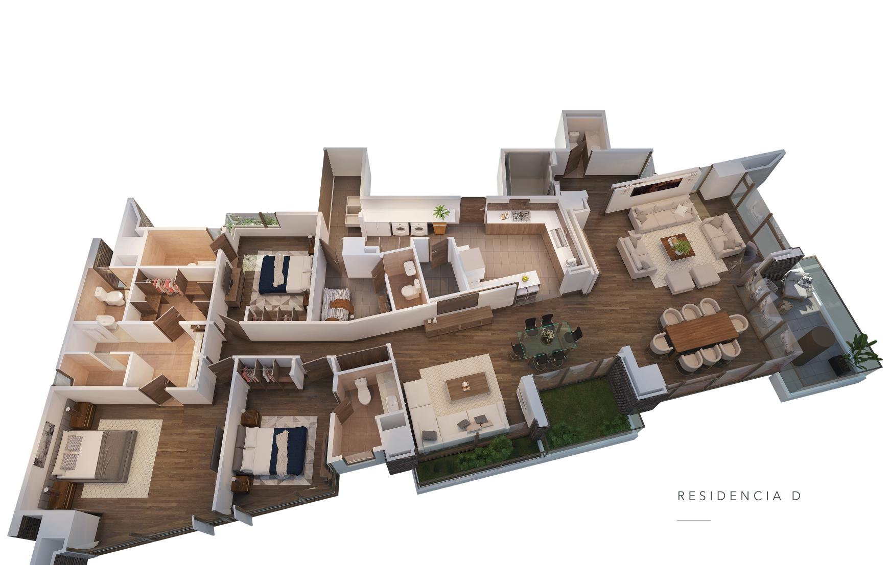 Residencias de 250m2 de áreas interiores y 35mts2 de terrazas jardín. incluye 3 estacionamientos y 1 bodega en el sótano.