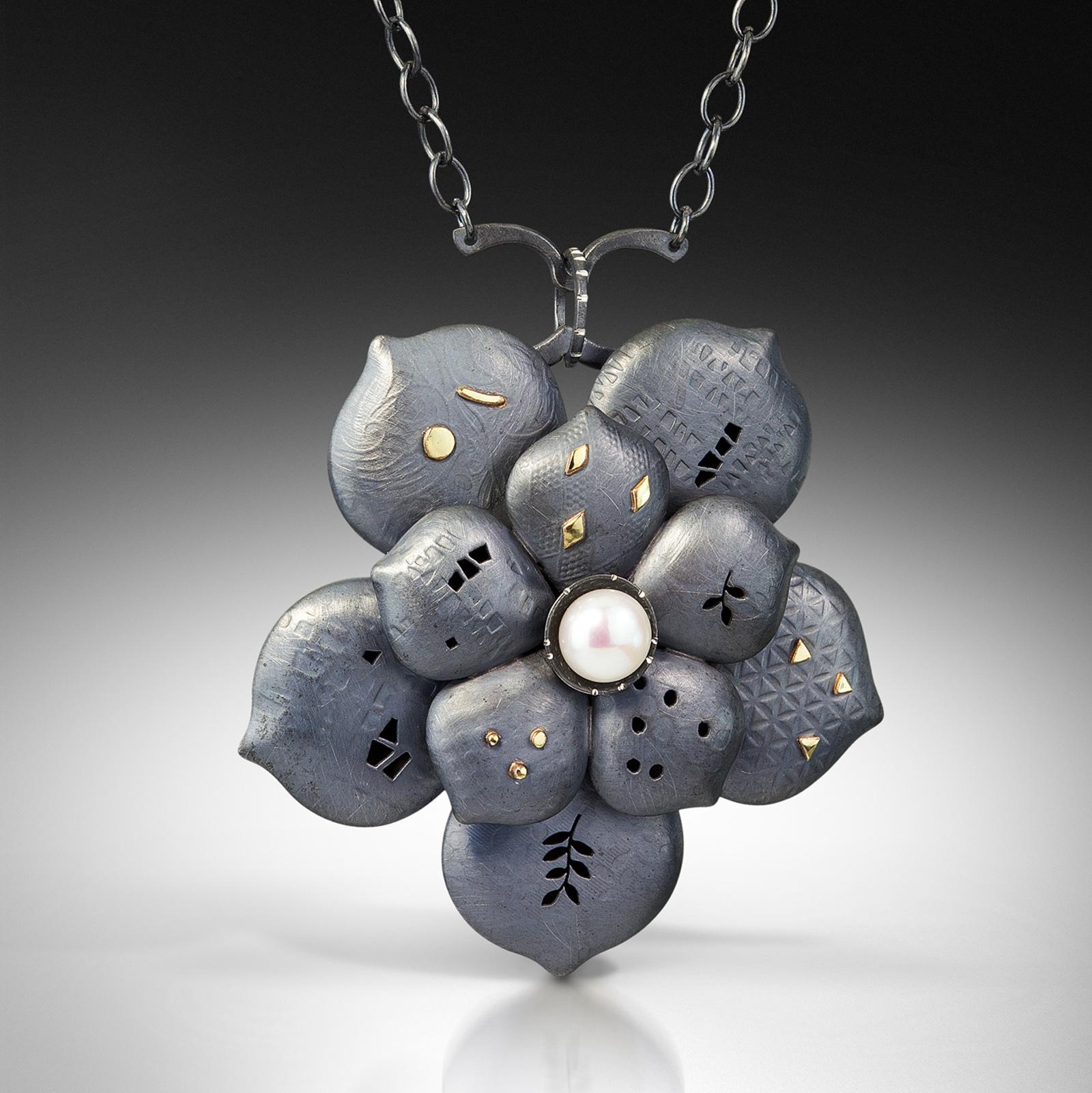 Aeonium Pendant, 18k, Oxidized Silver, Freshwater Pearl