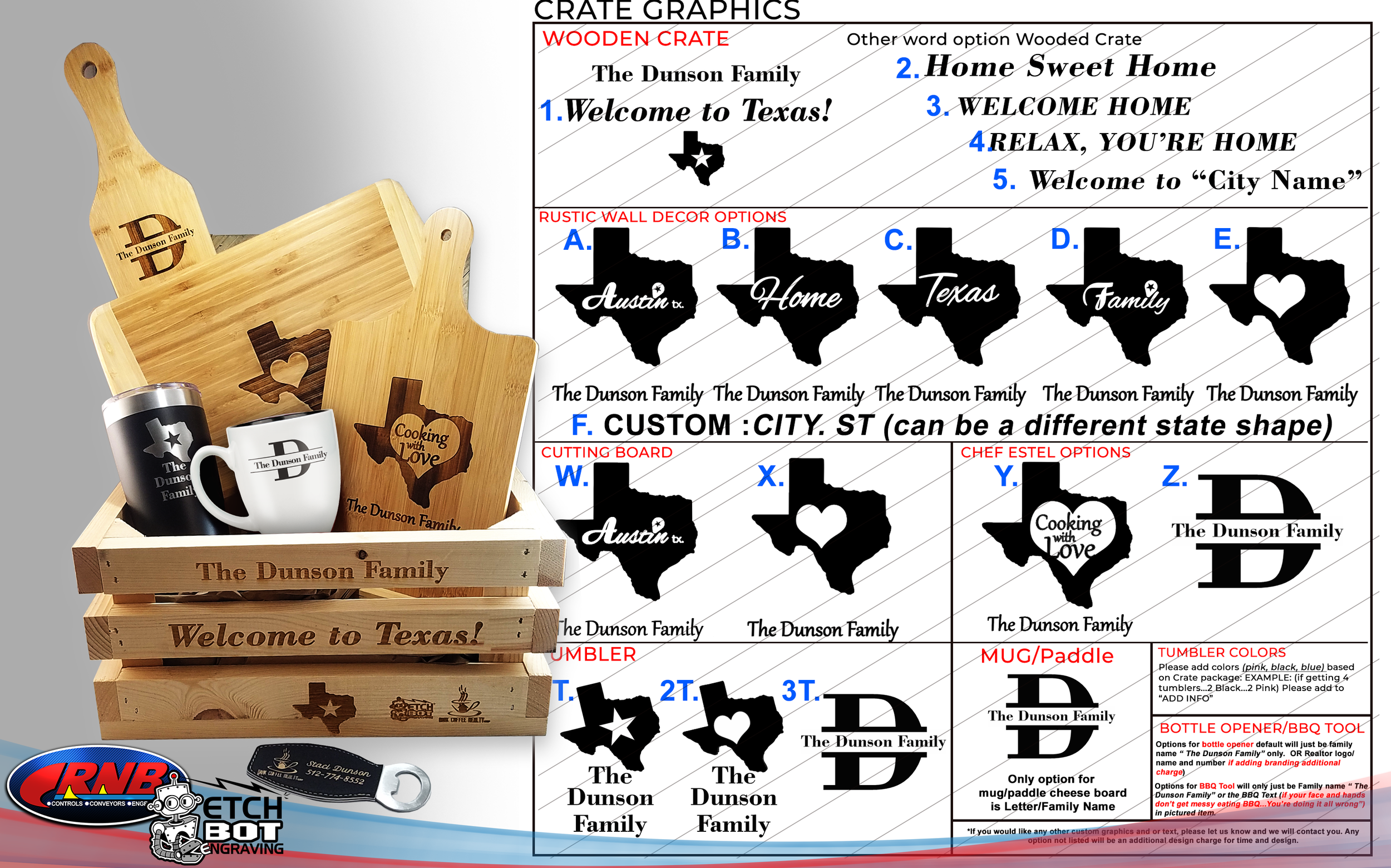 Housewarming Engraved Gift Crate NEW Graphic Options