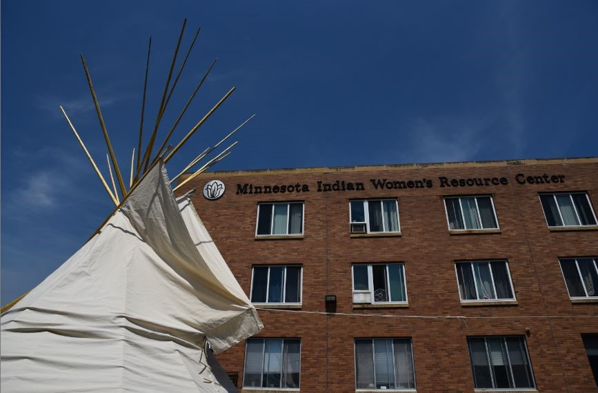 MIWRC's new tipi outside of our agency building in South Minneapolis