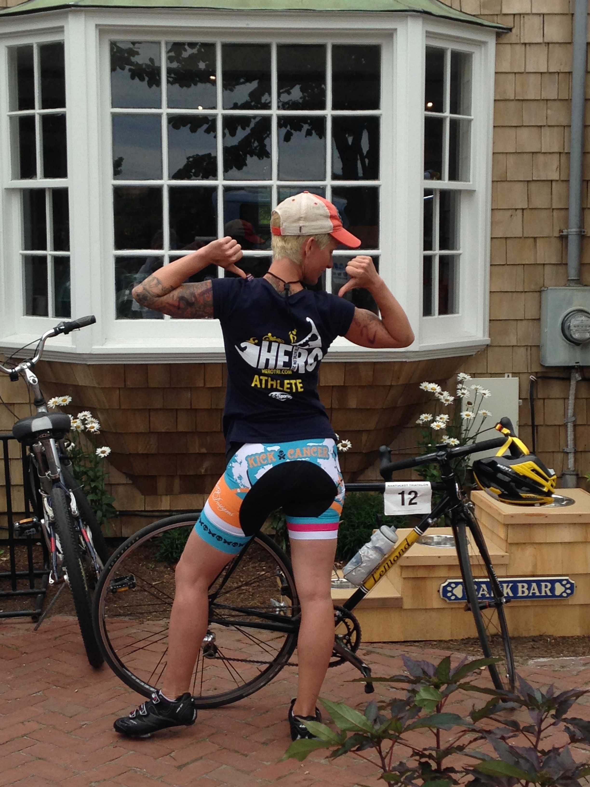 After the Nantucket Triathlon 2014, with my first road bike - a vintage steel LeMond.