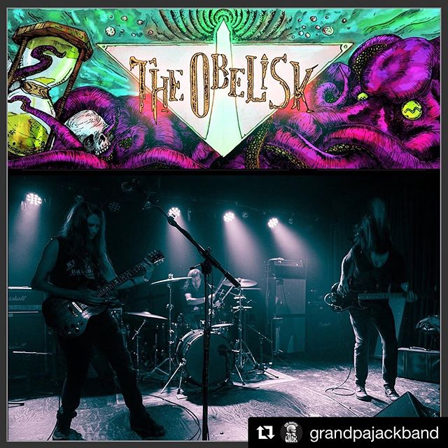 """🔥🔥🔥 #Repost @grandpajackband with @get_repost ・・・ Awesome little write-up on @odetodoom from """"The Obelisk"""" (@hptaskmaster ) . """"If you don't know Grandpa Jack — and I'll admit I didn't hear their self-titled debut LP last year; my loss — give it time. You will. The three-piece turned classic heavy rock shades of doomly purple with vintage tone emanating from the finger-picked guitar of Johnny Strom, who also shared vocal duties with drummer Matt C. White while Jared Schapker provided warm and engrossing low end to suit their blues-infused spirit. Their periodic dips into melody on vocals were welcome and hopefully telling of things to come, and the languid pace of their material brought to mind Radio Moscow played at two-thirds speed, with jammy intent. They were a more than welcome start to the proceedings."""" . #Grandpajackband #brooklyn #rock #grandpajackband #mustard #nyc #drumlife #geriatrics #dementia #stonerrock #lostmoonrecords #theobelisk #livereview"""