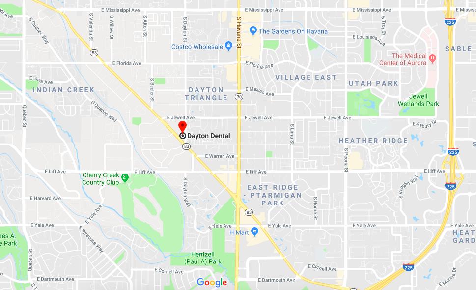 DAYTON DENTAL - 2020 S. Parker Road, Suite F. Denver, Colorado. 80231  720. 477. 1449      info@daytondentaldenver.com