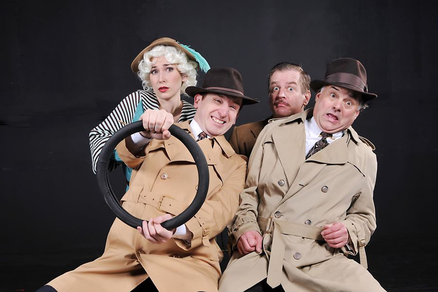The cast of  The 39 Steps  for the Arts Center of Coastal Carolina from top left to bottom Kathryn Merry, Gary Lindeman, Ethan Paulini and Rick Ford