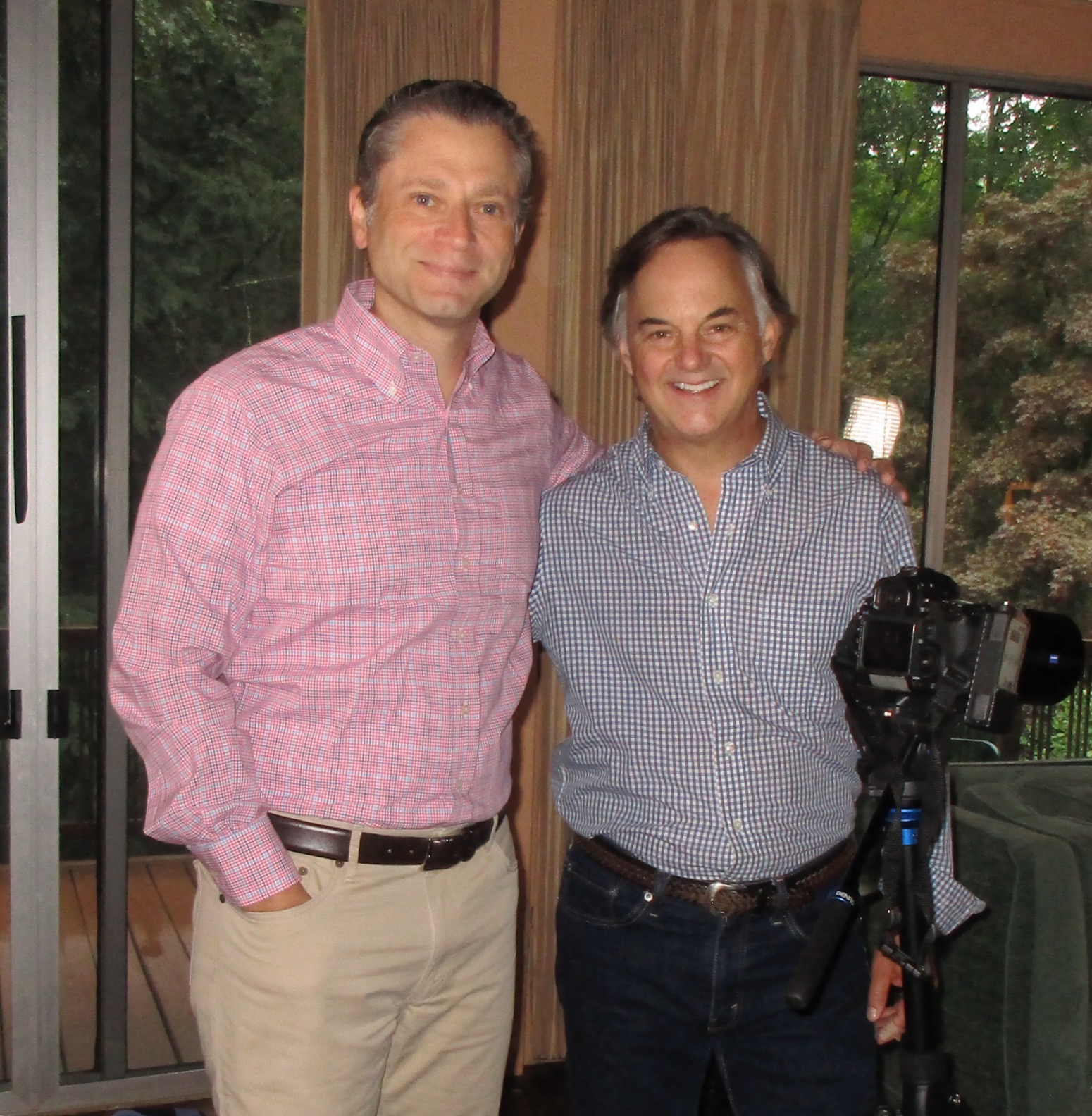 With Jeremy Schaap after my interview for E:60's  The Forgotten Yankee  (Photo by Mom)