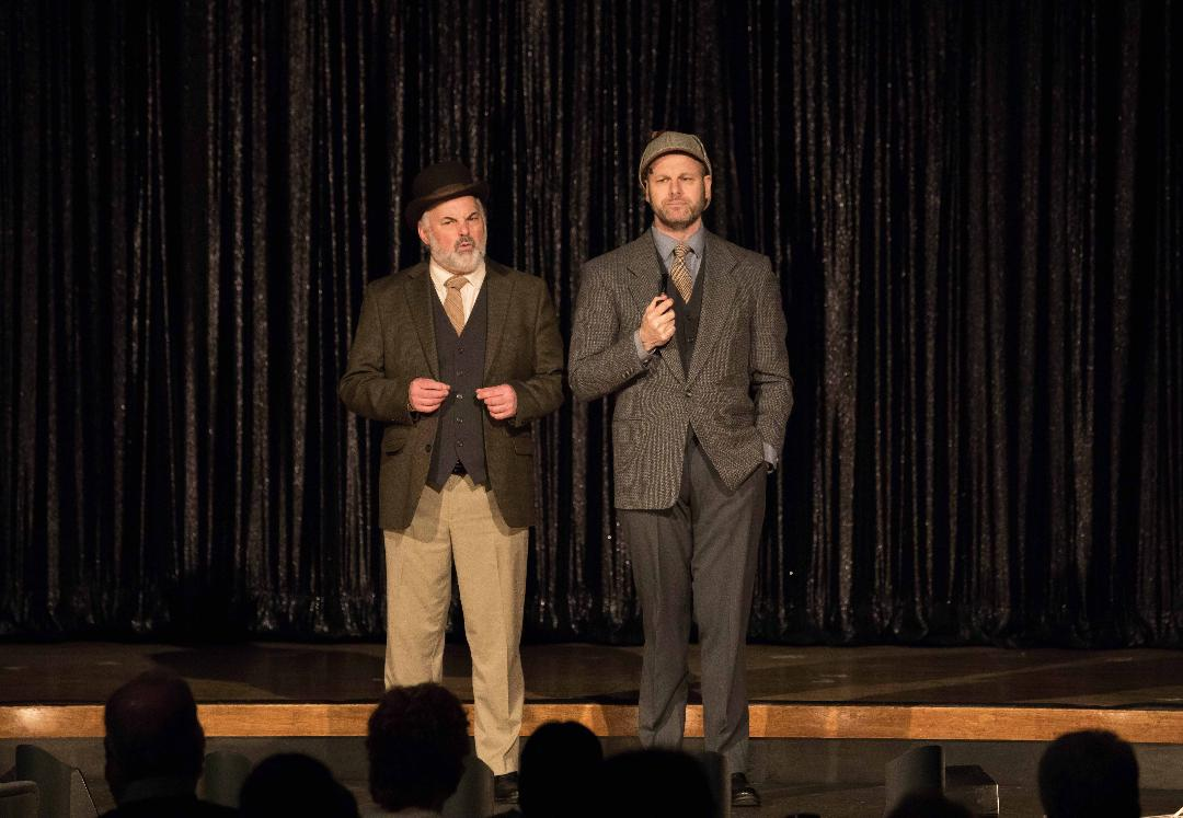 Rick Ford as Dr. John Watson and George Merrick as Sherlock Holmes in Hunterdon Hills Playhouse production of Take Me Away (Photo by Kerry Snyder)
