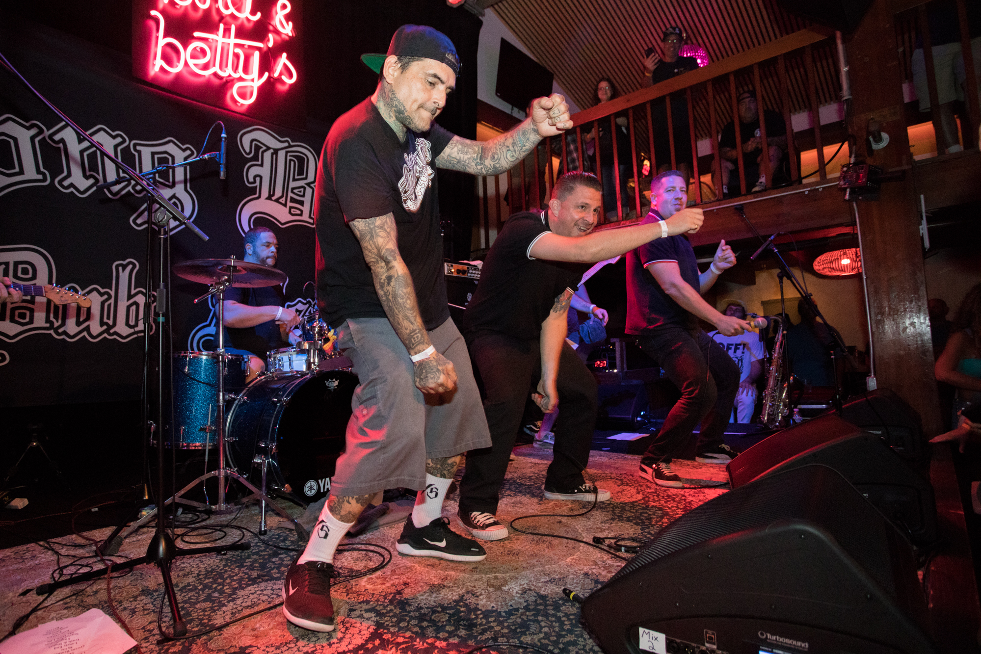 The Long Beach Dub All Stars' Opie Ortiz joins the Aggrolites on stage at Bird & Betty's. Photo: LJ Hepp.