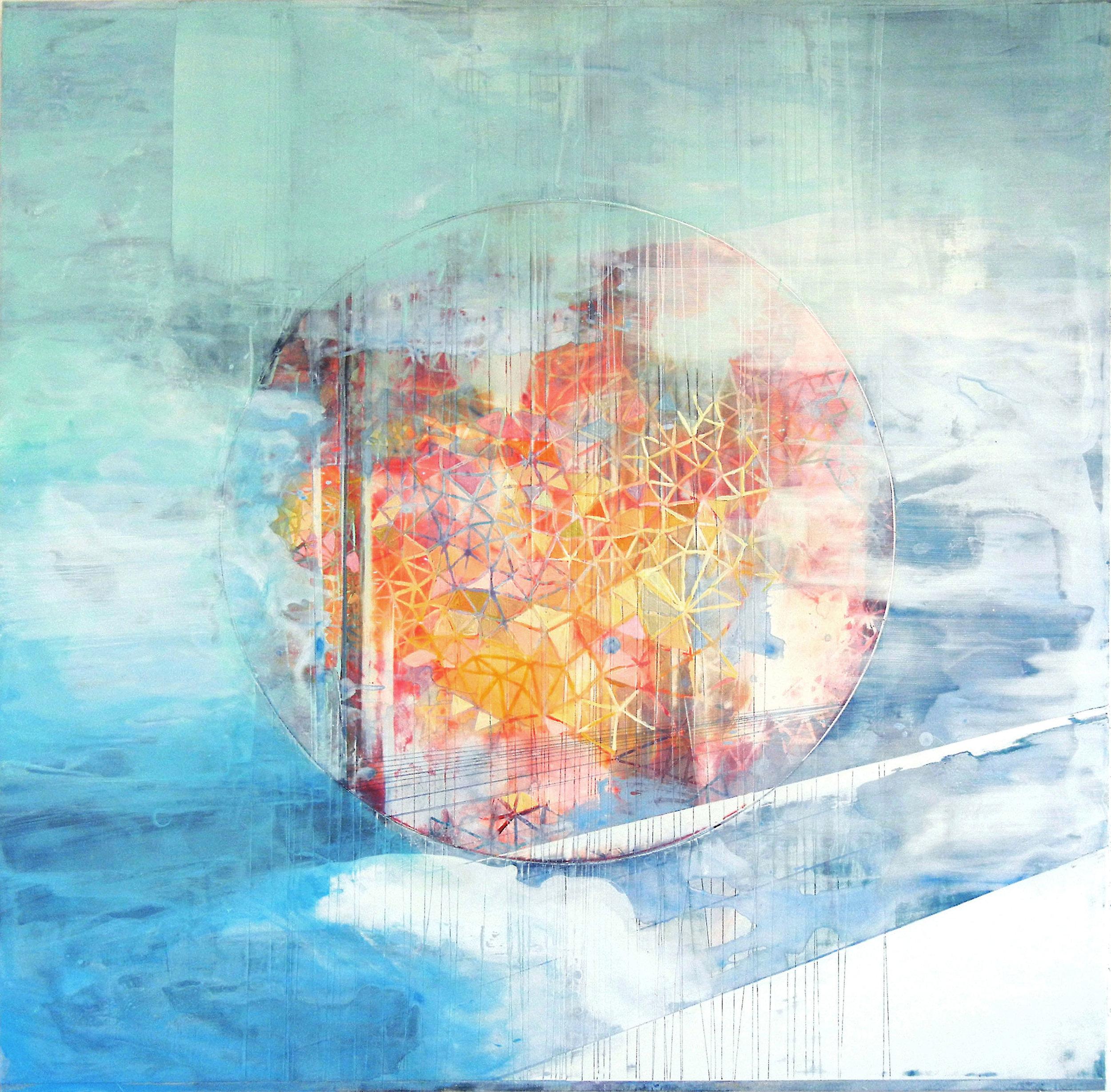 05_ dans l'air,éclaircie_2014_acrylic on paper and wooden panel_92cmx92cm_$3000 .jpg