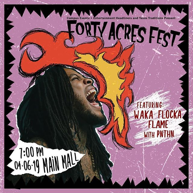 PNTHN WITH WAKA FLOCKA FLAME 7PM THIS SATURDAY AT THE UT TOWER FREE AND OPEN TO THE PUBLIC LAST SHOW IN AUSTIN FOR A MINUTE
