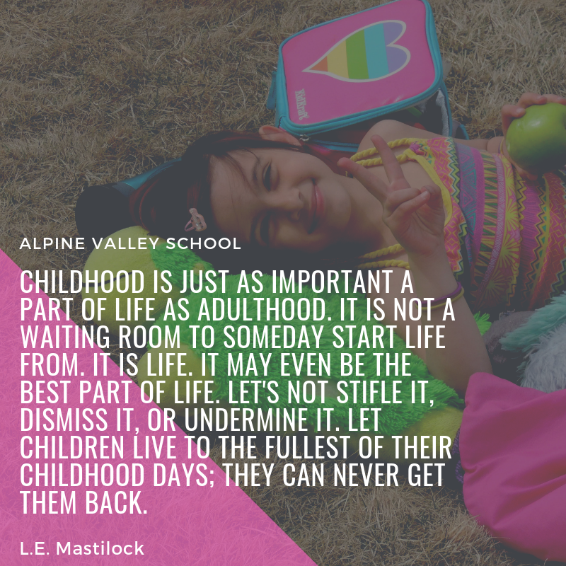 childhood is just as important a part of life as adulthood. it is not a waiting ROOM to someday start life from. it is life. it may even be the best part of life. let's not stifle it, dismiss it, or undermine it. let.png