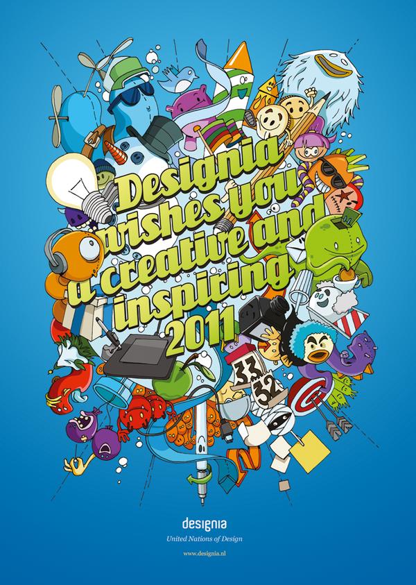 Gedrukte nieuwjaarswens 2011 'Designia wishes you a creative and inspiring 2011'