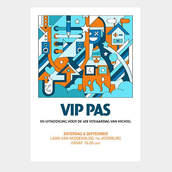 Voorzijde VIP pas en uitnodiging voor 40e verjaardag Michiel Nagtegaal