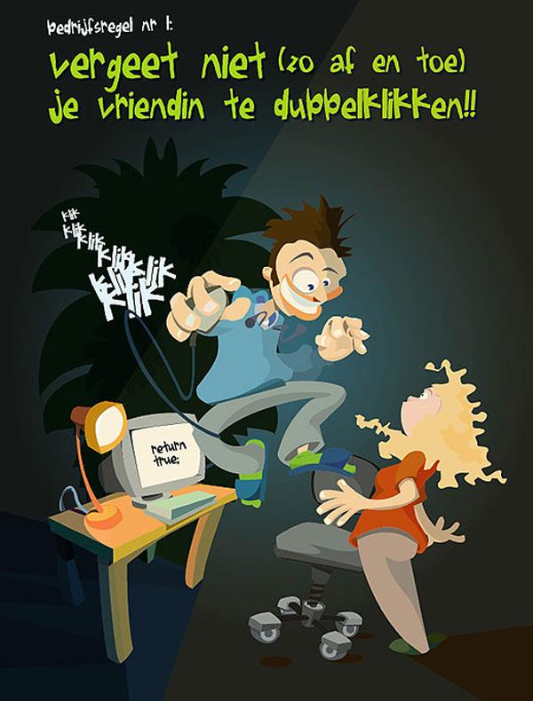 Dubbelklikken - Een illustratie op poster als verjaardagscadeau