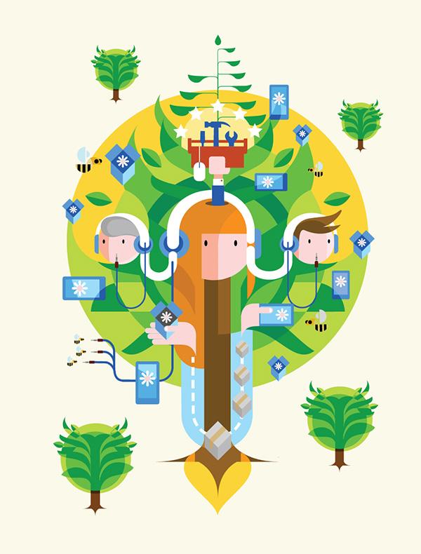 Illustratie 'Eco-systeem', als basis van een schilderij in opdracht van KPN