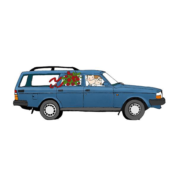 Afbeelding 1 van 2 - Trouwkaart illustratie 'Bart en Maaike'