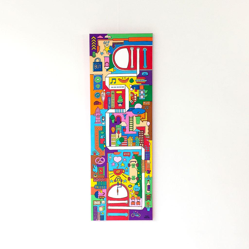 Afbeelding 1 van 5 - illustratie / schilderij 'City Madness' - Voorzijde