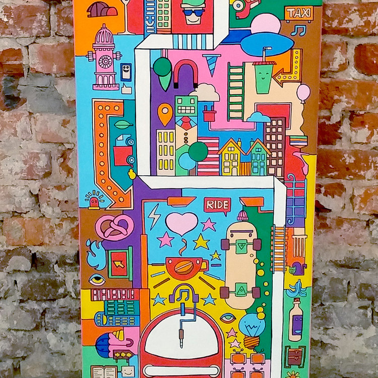 Afbeelding 4 van 5 - illustratie / schilderij 'City Madness' - Voorzijde uitvergroot 2