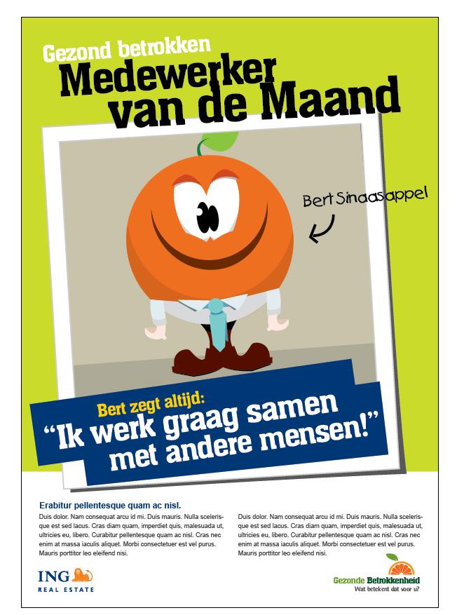 Afbeelding 2 van 2 - Ontwerp poster interne ING Real Estate campagne 'Gezonde betrokkenheid'