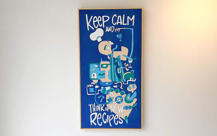 Afbeelding 1 van 5 - Voorzijde illustratie / schilderij 'Keep calm and think of new recipes' in opdracht van KPN als afscheidscadeau voor een KPN manager