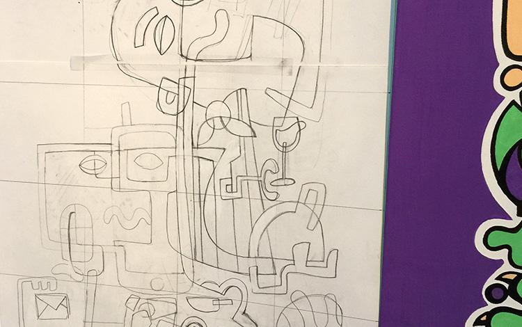 Afbeelding 4 van 5 - Potlood schetsen van de illustratie / het schilderij 'Keep calm and think of new recipes' in opdracht van KPN als afscheidscadeau voor een KPN manager