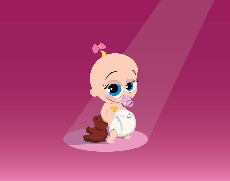 Afbeelding 1 van 2 - Illustratie voor op geboortekaartje van Lara