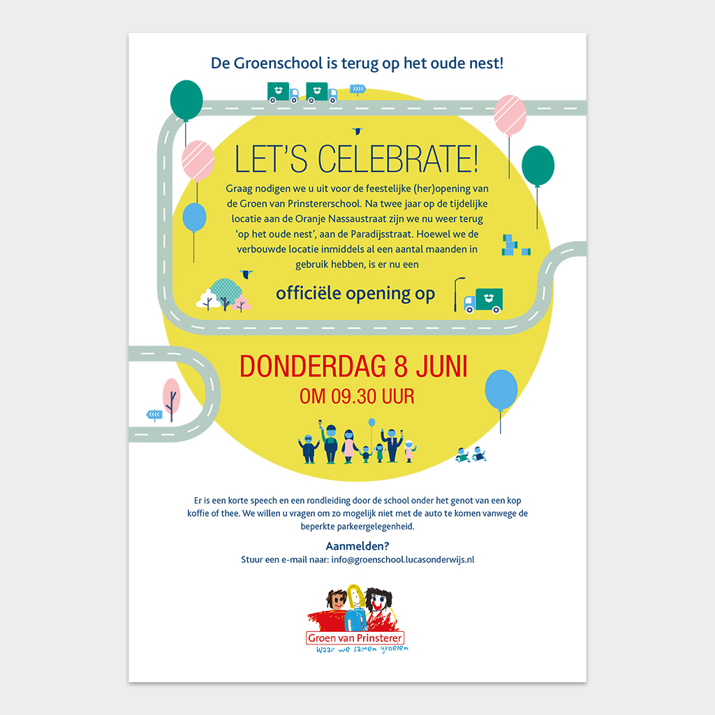 Afbeelding 2 van 2 - Achterzijde uitnodiging heropening Groen van Prinstererschool in Voorburg