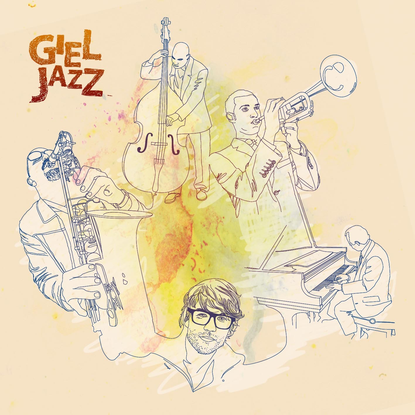 Afbeelding 2 van 2 - Giel Beelen Jazz CD Cover illustratie