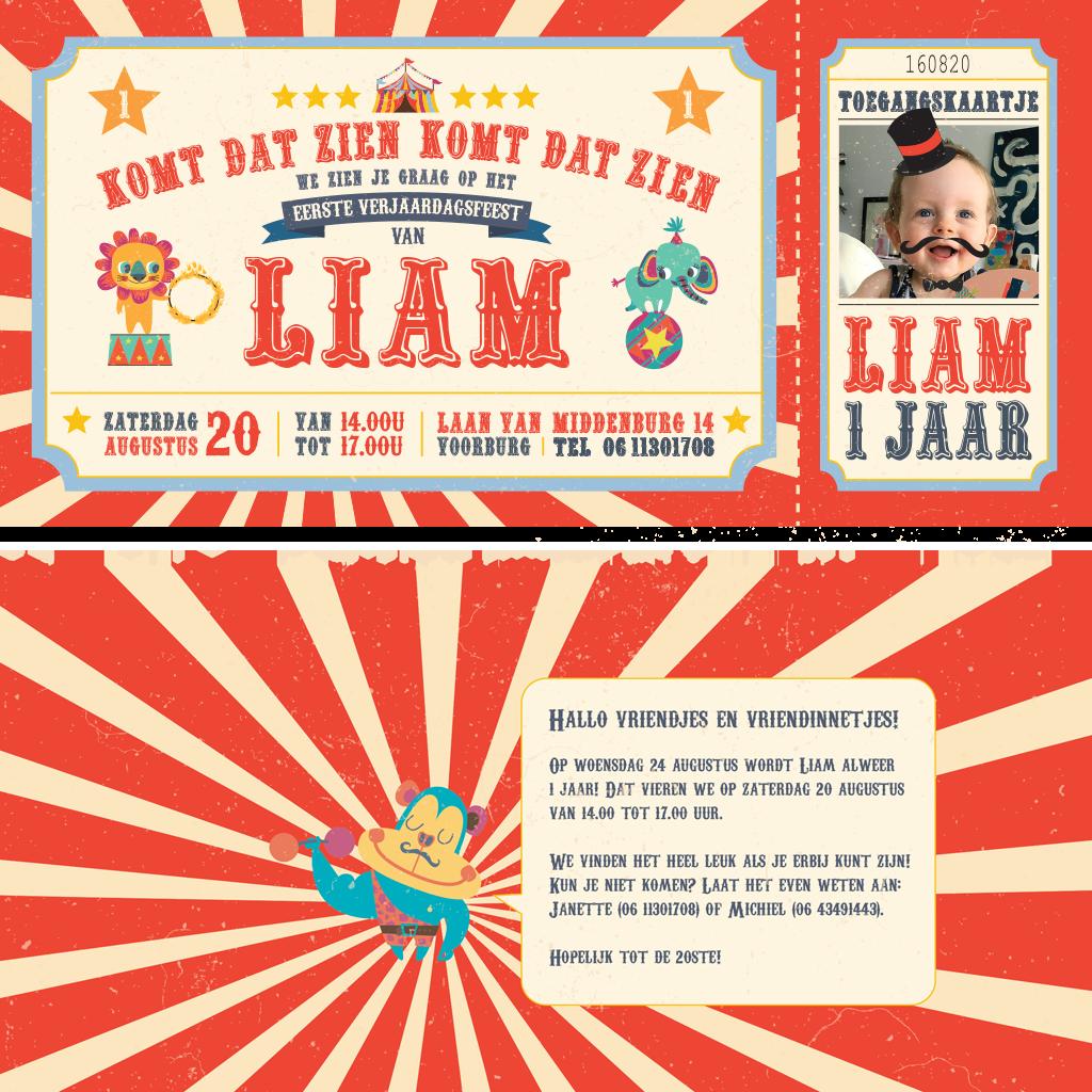 Ontwerp in circus thema voor de uitnodiging van de eerste verjaardag van ons zoontje Liam