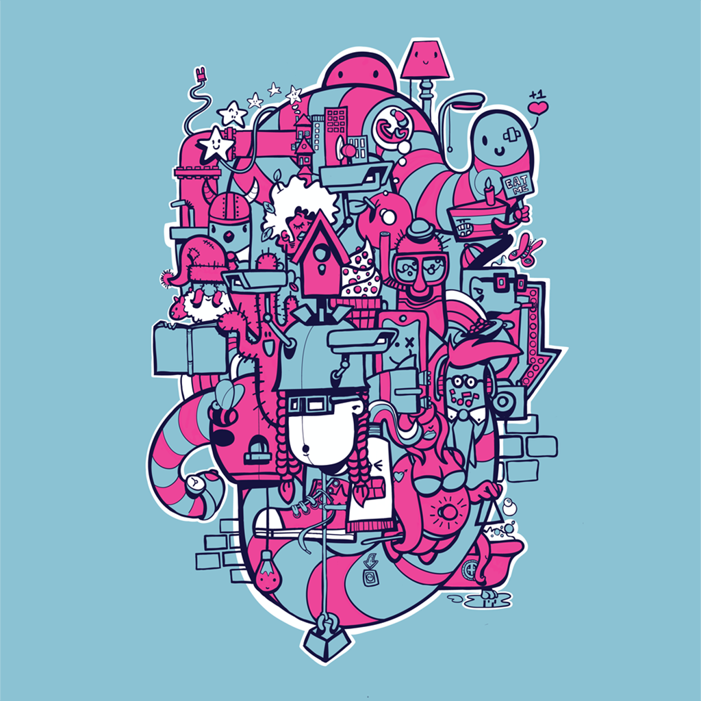 Afbeelding 1 van 5 - Illustratie 'Bright Lights Big City' in doodle stijl. Met blauwe achtergrond en magenta accenten. Ook verkrijgbaar als limited edition print.