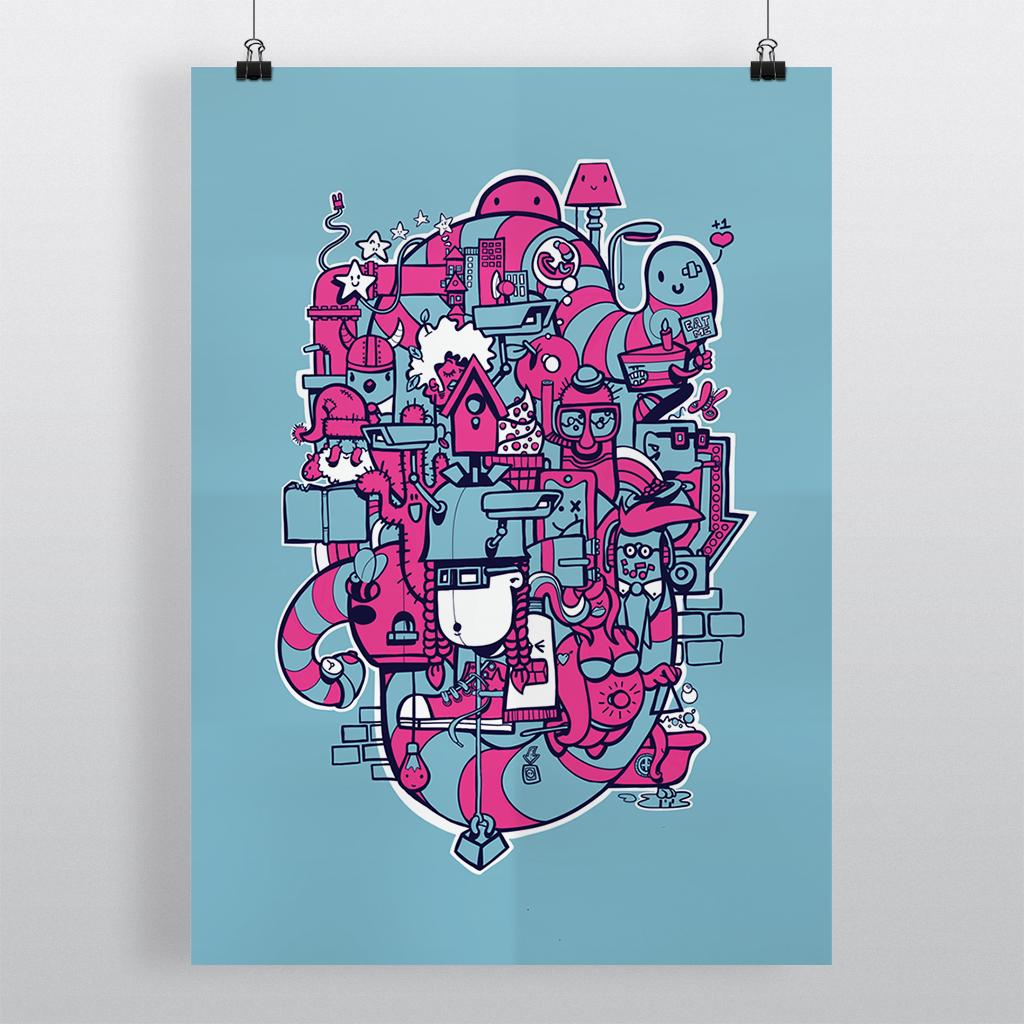 Afbeelding 2 van 5 - 'Doodle'-stijl illustratie 'Bright Lights Big City', getoond als print aan papierklemmen.