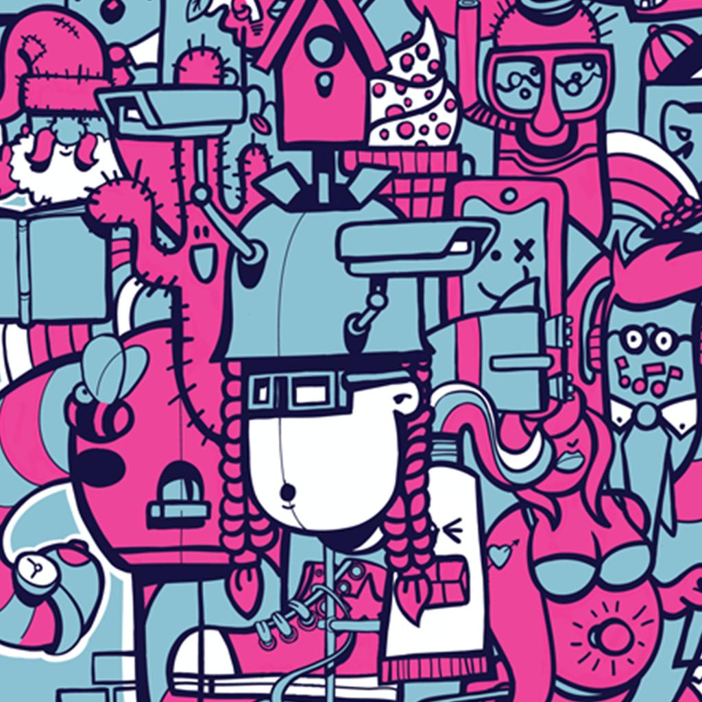 Afbeelding 3 van 5 - Close-up van 'Doodle'-stijl illustratie 'Bright Lights Big City'.