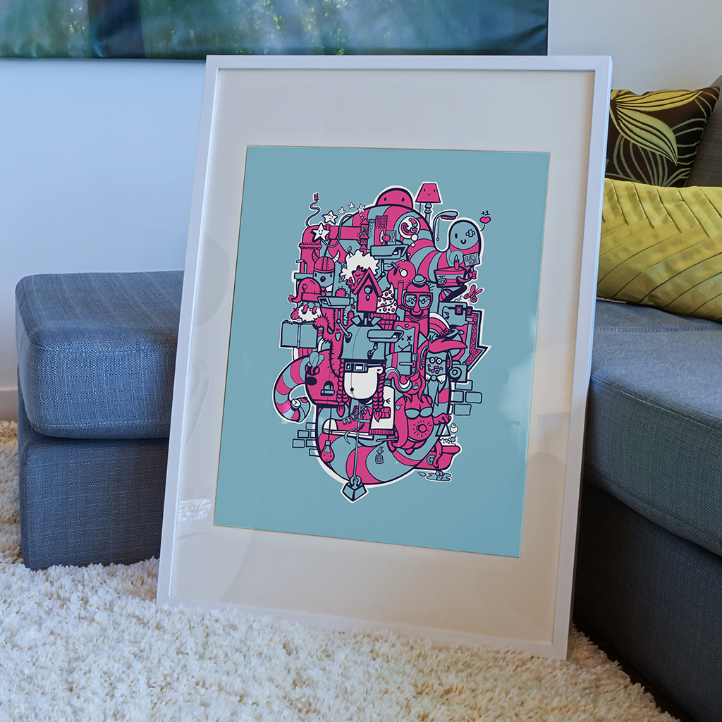 Afbeelding 4 van 5 - 'Doodle'-stijl illustratie 'Bright Lights Big City, ingelijst. De limited edition print wordt standaard verkocht zonder lijst via webshop MrUpside.com