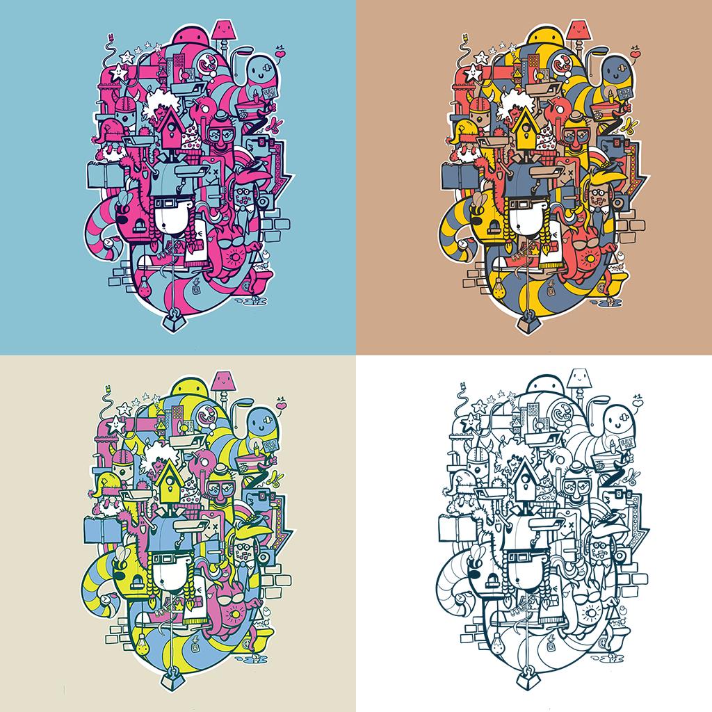 Afbeelding 5 van 5 - De beschikbare kleur variaties van de 'Doodle'-stijl illustratie 'Bright Lights Big City'. Zie de webshop MrUpside.com voor meer informatie over de limited edition prints.