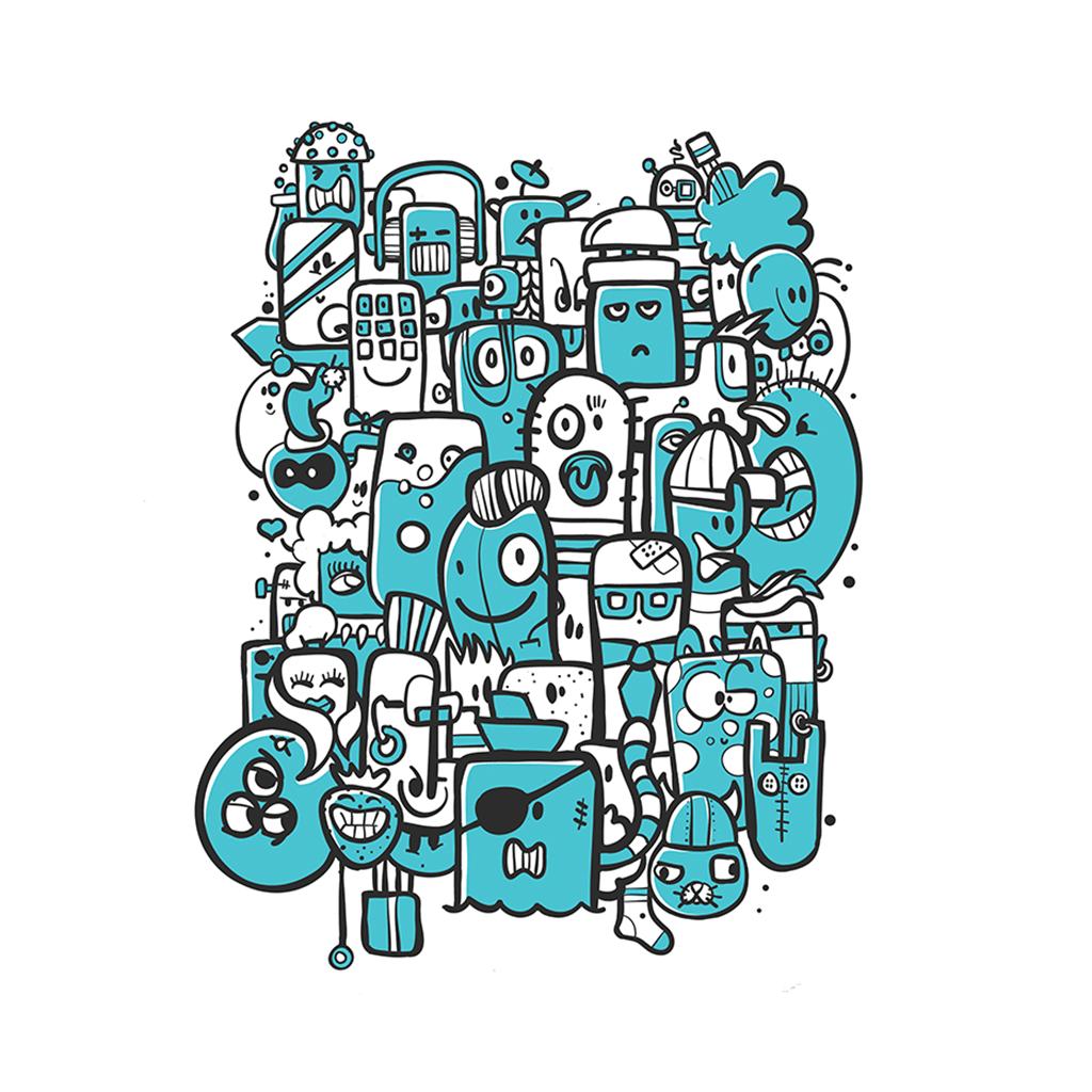 Afbeelding 1 van 3 - Illustratie 'Bunch of Weirdos' in doodle stijl. Met witte achtergrond en blauwe accenten. Ook verkrijgbaar als limited edition print.