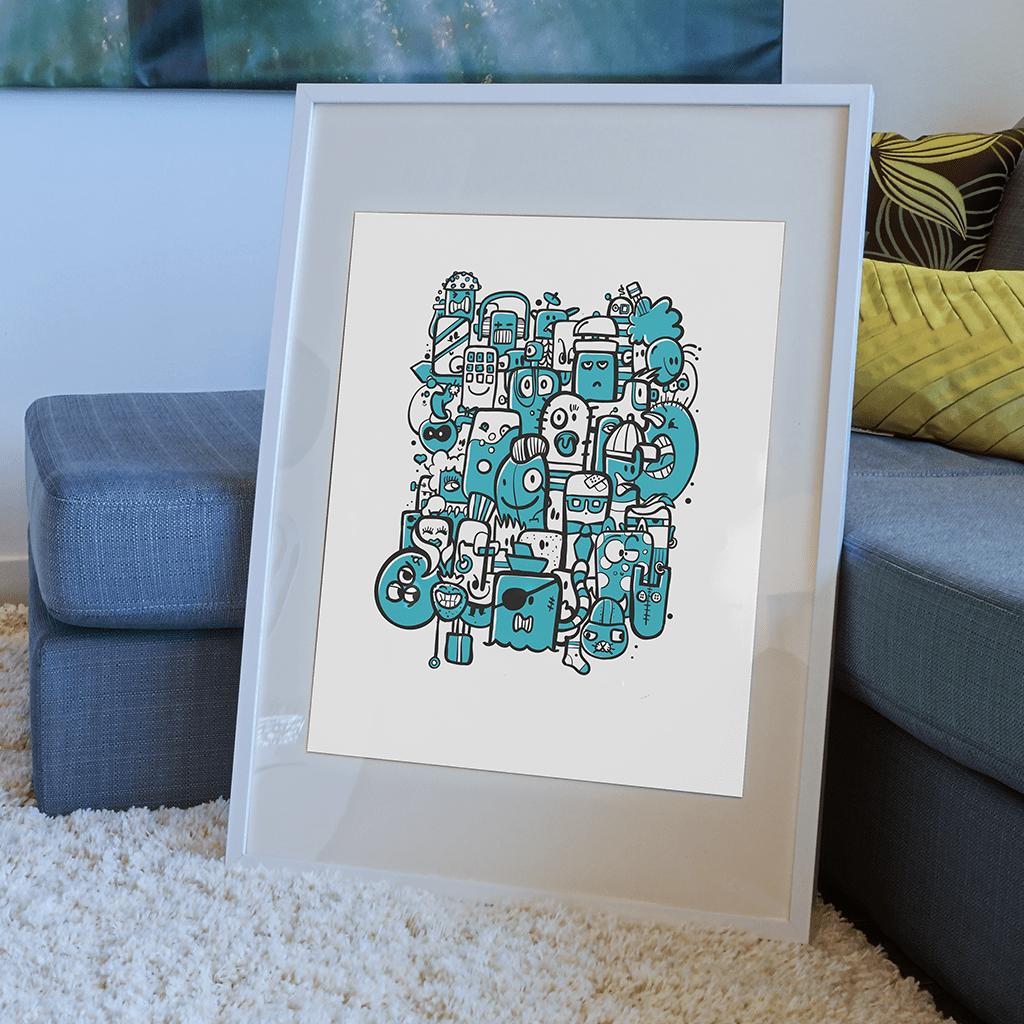 Afbeelding 2 van 3 - Illustratie 'Bunch of Weirdos' in doodle stijl. Voorbeeld van een ingelijste versie. Ook verkrijgbaar als limited edition print. De prints worden standaard verkocht zonder lijst.
