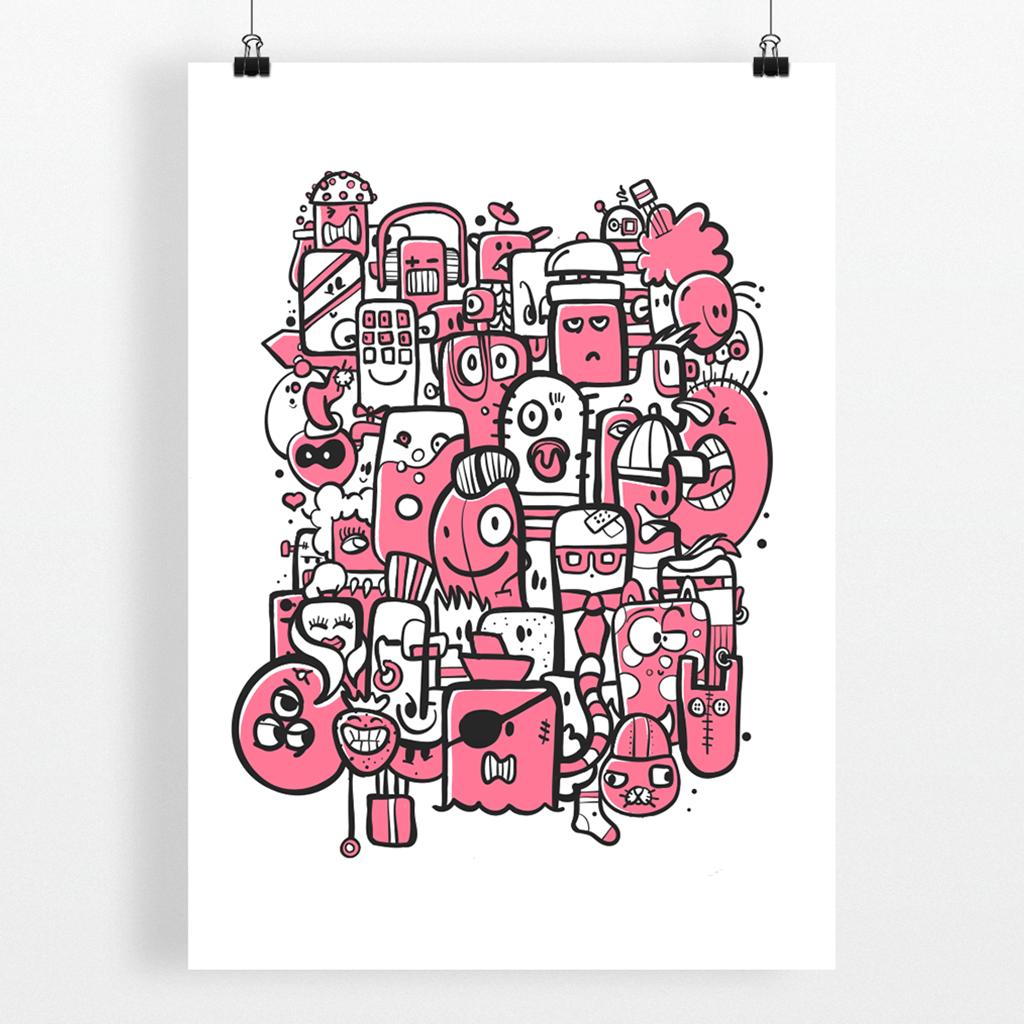 Afbeelding 3 van 3 - Een roze versie van doodle-stijl illustratie 'Bunch of Weirdos'.
