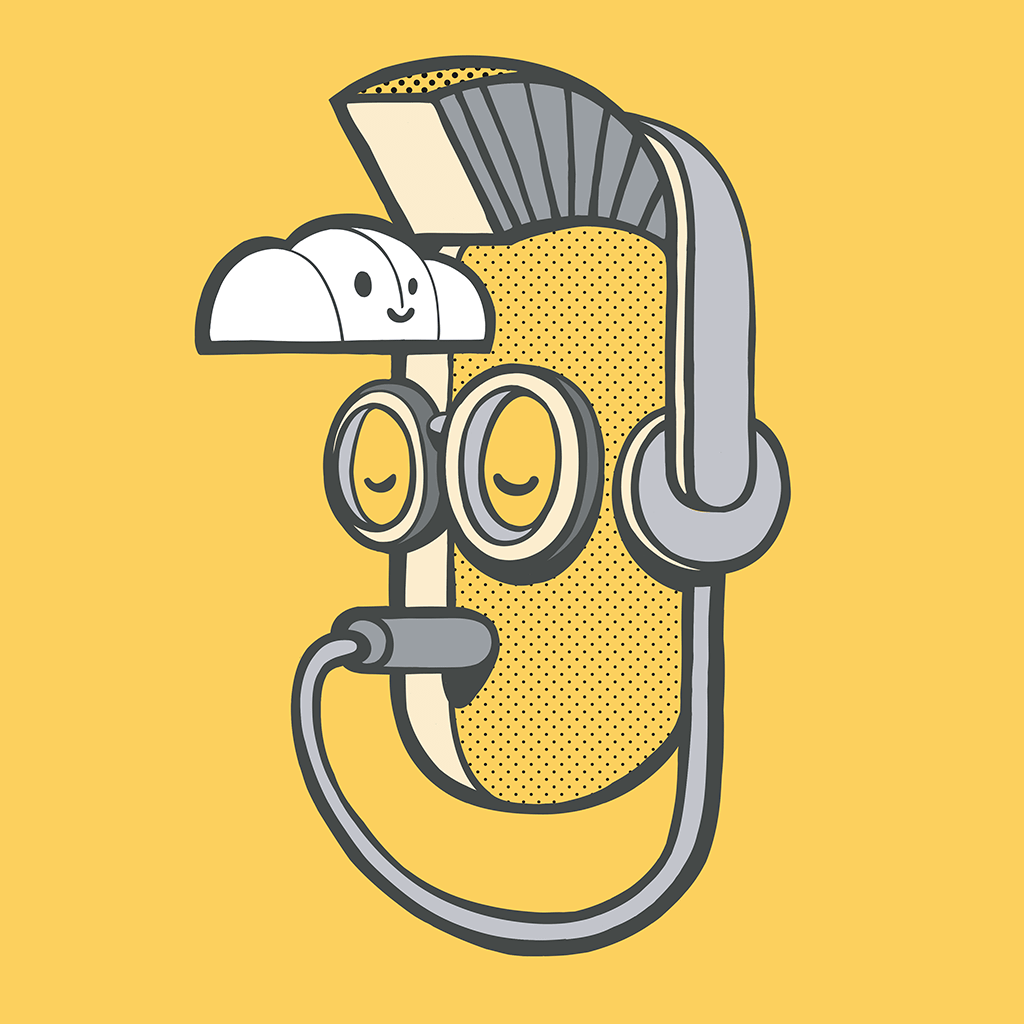 Afbeelding 1 van 4 - Illustratie 'Inner Punk', op gele achtergrond. Het hoofd heeft de koptelefoon plug in eigen mond. Een metafoor voor 'luister naar je eigen innerlijke stem'. Ook verkrijgbaar als limited edition print op webshop MrUpside.com.